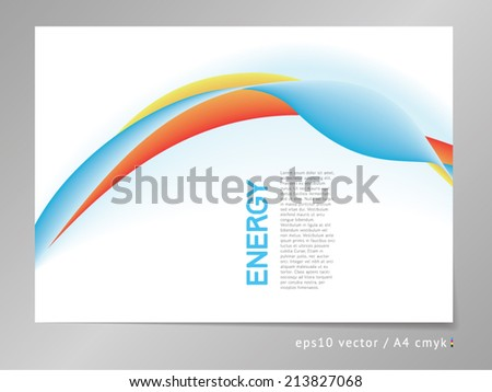 Abstract vector background with three-colored powerful gradient blend ornament illustration. For sports, action and business design projects. A4, eps10, cmyk.  - stock vector