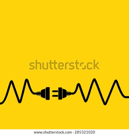 Abstract vector background with wire plug and socket. Concept connection, disconnection, electricity. - stock vector