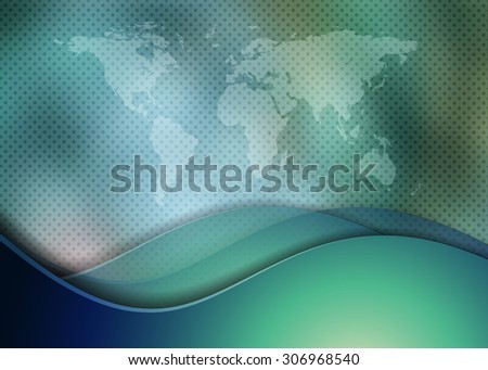 abstract vector background with world map and waves. Eps10 - stock vector