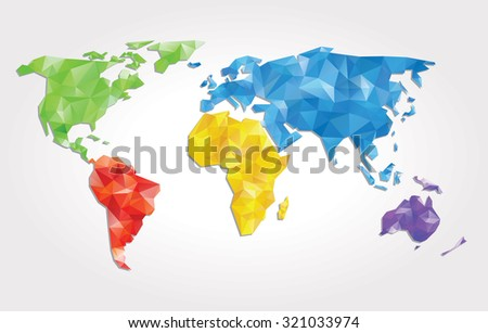 abstract vector background with world map with triangles - stock vector