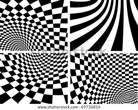 Abstract vector backgrounds - black and white - stock vector