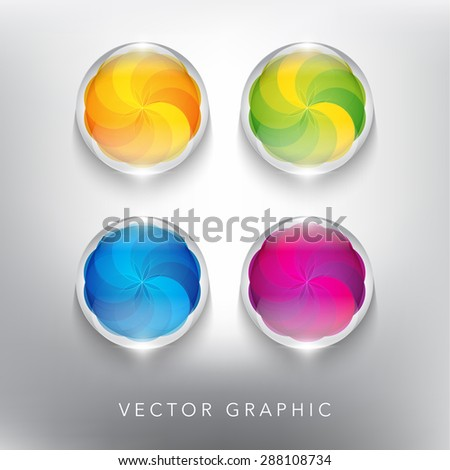 Abstract vector banner set. Glass marble with swirl design. Coloured and glossy on the white panel. Vector illustration.  Eps10 - stock vector
