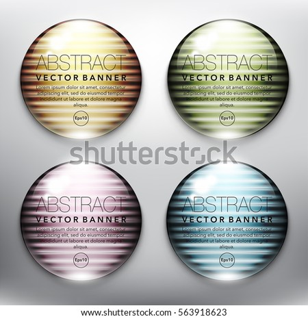 Abstract vector banner set of 4. Glass marbles with yellow, green, blue and pink design on the white background. Each item contains space for own text. Vector illustration. Eps10.