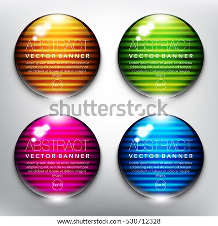 Abstract vector banner set of 4. Glass marbles with yellow, green, blue and violet design on the white background. Each item contains space for own text. Vector illustration. Eps10.