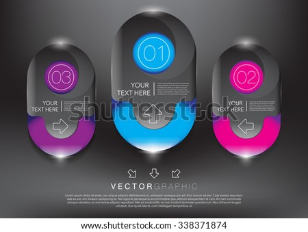Abstract vector banners set. Colorful and glossy on the black panel. 3 parts concept. Vector illustration. Eps10. - stock vector