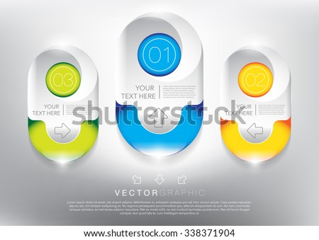 Abstract vector banners set. Colorful and glossy on the white panel. 3 parts concept. Vector illustration. Eps10. - stock vector