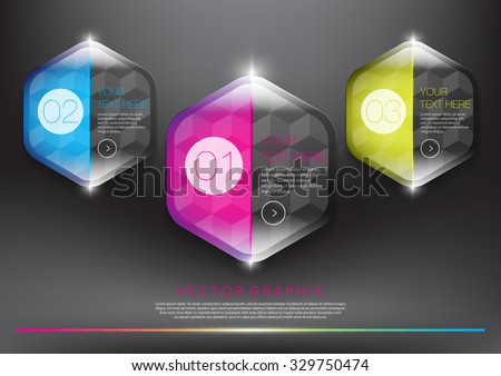 Abstract vector banners set. Colorful, glossy and transparent on the black panel. 3 parts concept. Vector illustration. Eps10. - stock vector