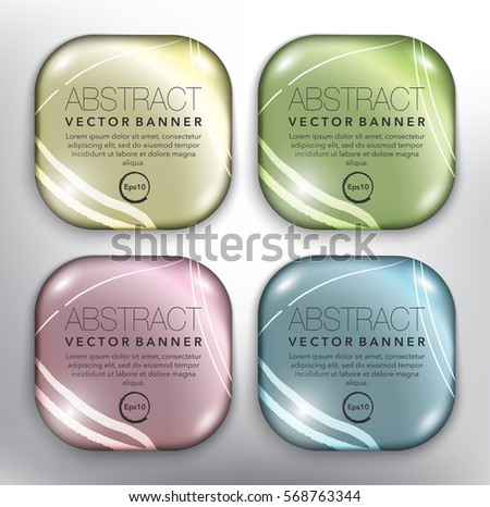 Abstract vector banners set of 4. Round pebble stones. Colorful and glossy with realistic light and shadow on the white panel. Vector illustration. Eps10.
