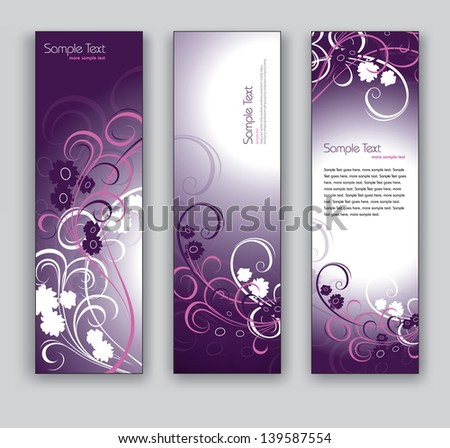 Abstract Vector Banners. Set of Three. Floral Theme. - stock vector