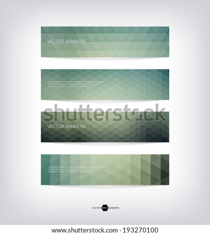 Abstract vector banners with trendy multicolored triangular pattern. Modern polygonal background. Colorful mosaic.