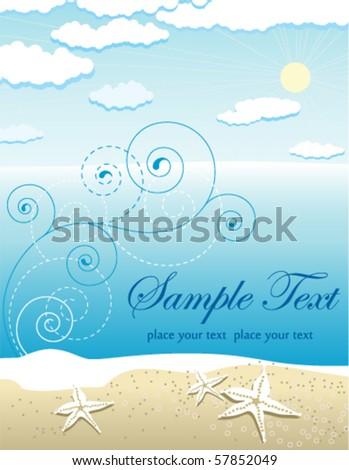 Abstract vector beach landscape - stock vector