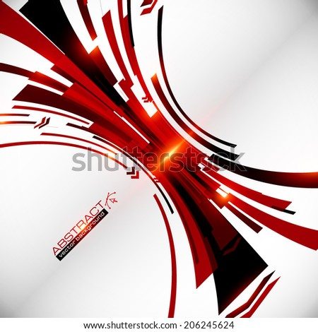 Abstract vector black and red perspective vector techno background