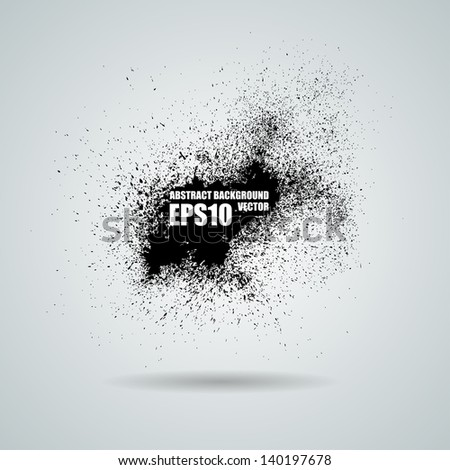 Abstract vector black grunge background. Vector banner. Ink stain with a spray - stock vector
