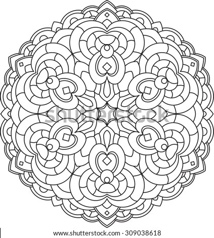 Abstract vector black round lace design in mono line style - mandala, ethnic decorative element.  - stock vector
