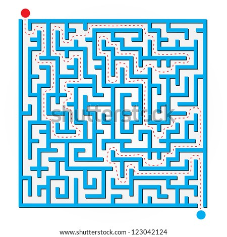 Abstract Vector Blue 2D Maze Map