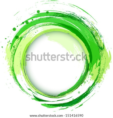 Abstract vector bright painting design element. Green smudges whirlpool. - stock vector