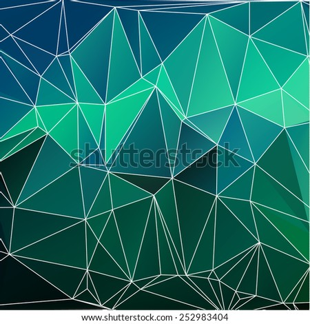 Abstract vector bright triangle (polygonal) background of northern lights - stock vector