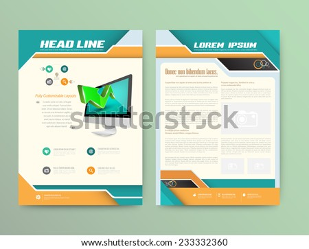 Abstract Vector Brochure Template. Flyer Layout. Flat Style. Infographic Elements. - stock vector
