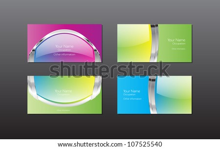 Foxies business cards set on shutterstock abstract vector business cards banners collection glossy reheart Choice Image