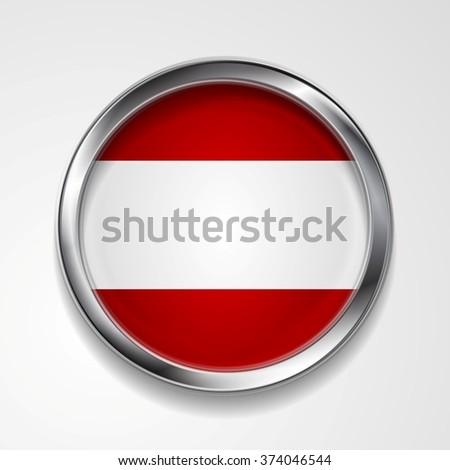 Abstract vector button with metallic frame. Austrian flag - stock vector