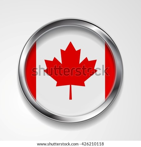 Abstract vector button with metallic frame. Canadian flag