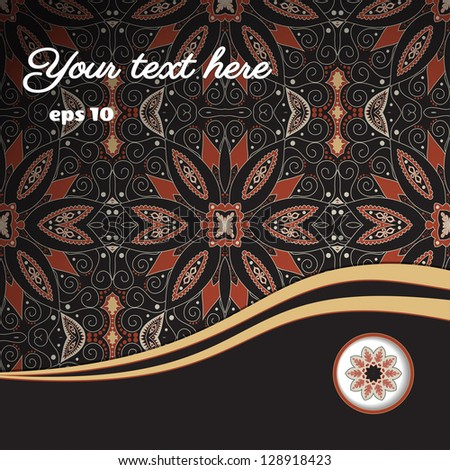 Abstract vector card with oriental floral elements. Place for your text.