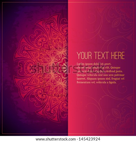Abstract vector circle floral ornament. Lace pattern design. Vintage ornament on red background. Vector ornamental border frame can be used for banner, wedding invitation, book cover, certificate etc. - stock vector