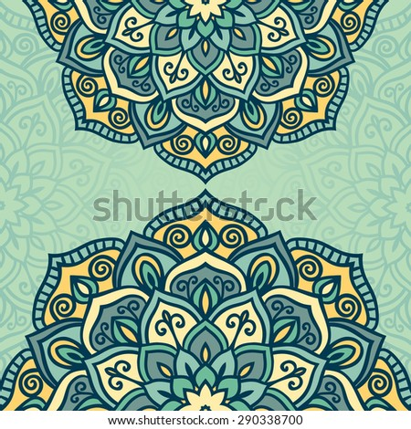 Abstract vector circle floral ornamental border in soft colors - stock vector