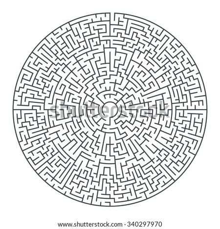 Abstract vector circle maze of high complexity - stock vector