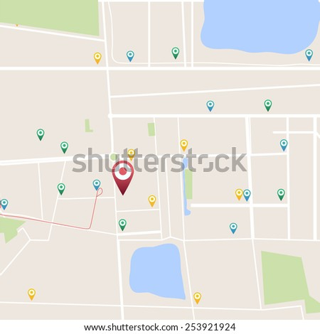 Abstract vector city map from set with pointers - stock vector