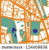 Abstract vector city map with orange streets, buildings, green park and dark blue ponds. Simply draft pop art town plan illustration - stock