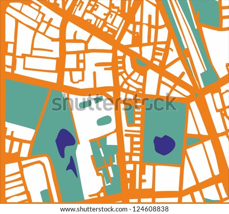 Abstract vector city map with orange streets, buildings, green park and dark blue ponds. Simply draft pop art town plan illustration - stock vector