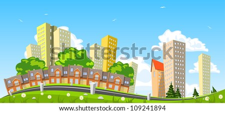 Abstract vector city, row building. Illustration - stock vector