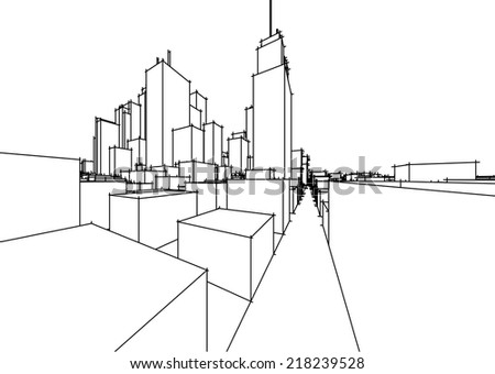 abstract vector cityscape sketch - stock vector