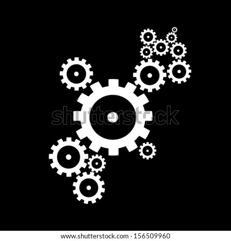 abstract vector cogs, gears on black background - stock vector