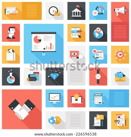 Abstract vector collection of colorful flat business and finance icons with long shadow. Design elements for mobile and web applications. - stock vector