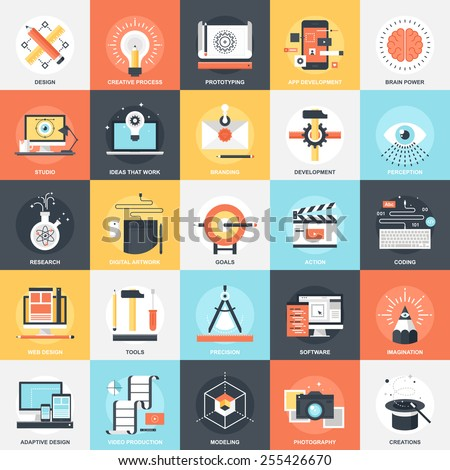 Abstract vector collection of colorful flat creative process and design and development icons. Elements for mobile and web applications. - stock vector
