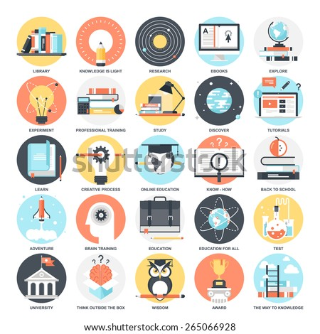 Abstract vector collection of colorful flat education and knowledge icons. Design elements for mobile and web applications. - stock vector