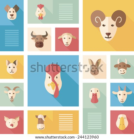 Abstract vector collection of colorful flat farm animals icons with long shadow. Design elements for mobile and web applications. - stock vector