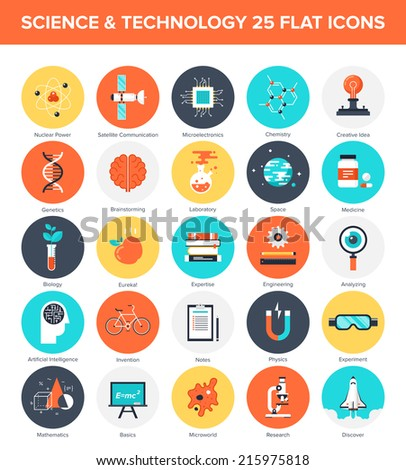 Abstract vector collection of colorful flat science and technology icons. Design elements for mobile and web applications. - stock vector