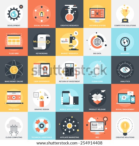 Abstract vector collection of colorful flat SEO and development icons. Design elements for mobile and web applications. - stock vector