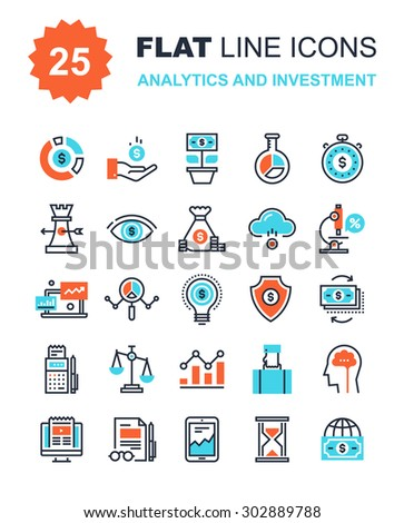 Abstract vector collection of flat line analytics and investment icons. Elements for mobile and web applications. - stock vector