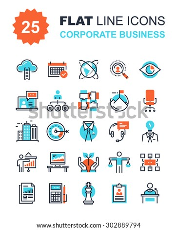 Abstract vector collection of flat line corporate business icons. Elements for mobile and web applications. - stock vector