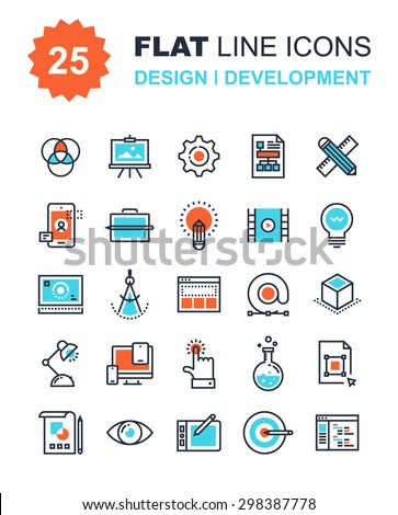 Abstract vector collection of flat line design and development icons. Elements for mobile and web applications. - stock vector