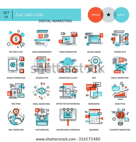 Abstract vector collection of flat line digital marketing icons. Elements for mobile and web applications. - stock vector