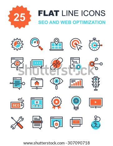 Abstract vector collection of flat line SEO and web optimization icons. Elements for mobile and web applications. - stock vector