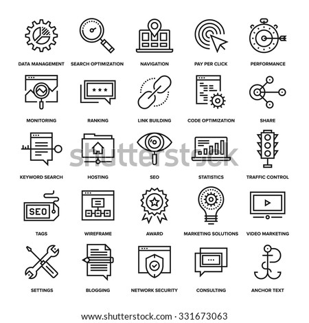 Abstract vector collection of line SEO and web optimization icons. Elements for mobile and web applications.