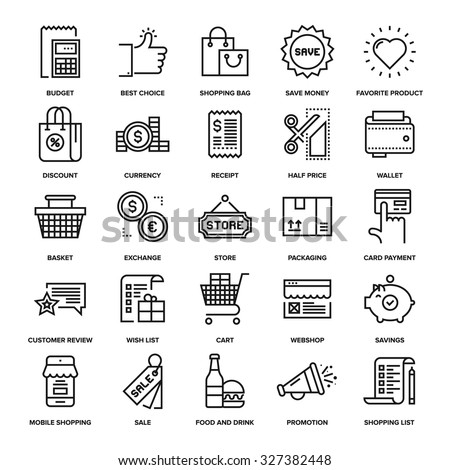 Abstract vector collection of line shopping and retail icons. - stock vector