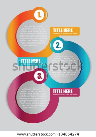 Abstract vector color background with three step scheme for brochure or flyer - stock vector