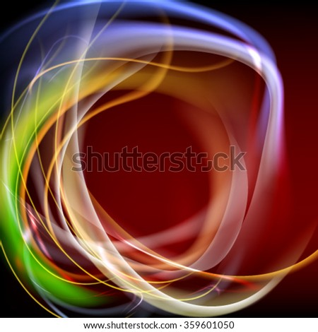 Abstract vector color frame. Elegant background with colored fibers - stock vector